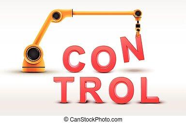 controllo, costruzione, industriale, braccio robotizzato, parola
