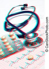 controllo, cuore, concetto medico, -