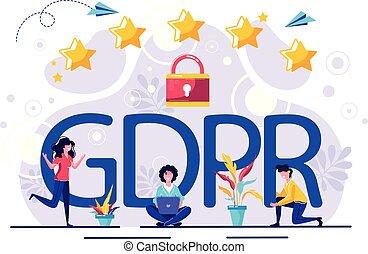 controllo, data., illustration., commissione, regole, sopra, vettore, generale, loro, protezione, personale, unifies, gdpr., dati, strengthens, europeo