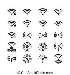 controllo, fili, set, remoto, icone, comunicazione, wifi,...