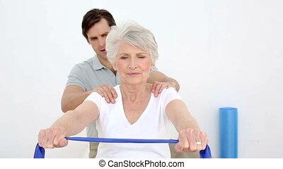 controllo, fisioterapista, anziano, paziente