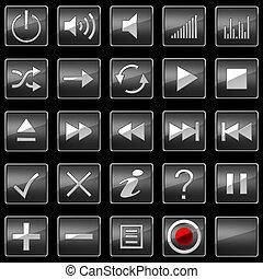 controllo, icone, bottoni, nero, o, pannello