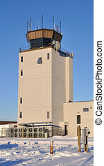 controllo, inverno, alaska, traffico aereo, durante, torre