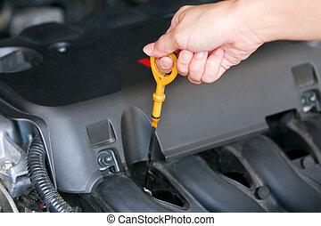 controllo, macchina, primo piano, olio, automobile.