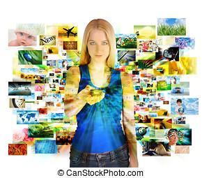 controllo, media, immagini, remoto, ragazza