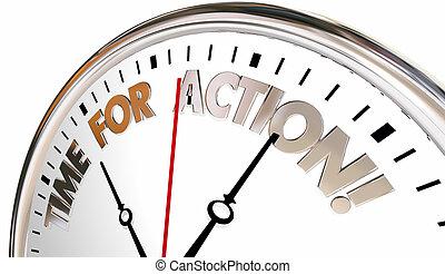 controllo, orologio, atto, illustrazione, prendere, tempo, azione, ora, 3d