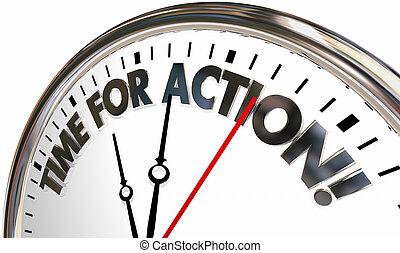 controllo, orologio, illustrazione, prendere, parole, tempo, azione, ora, 3d