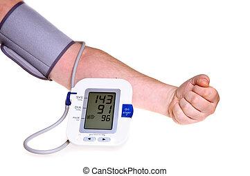 controllo, pressione, sangue