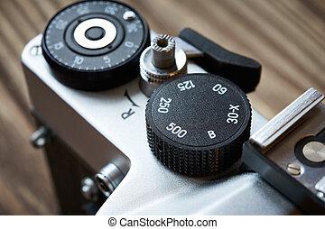controllo, quadrante, velocità imposta, e, cornice, contatore, su, macchina fotografica slr