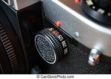 controllo, quadrante, velocità imposta, su, macchina fotografica slr