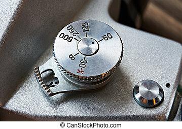 controllo, quadrante, velocità imposta, su, retro, macchina...