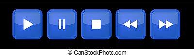 controllo, quadrato, blu, bottoni, set, musica, bianco