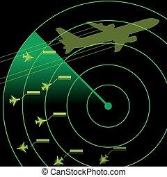controllo, radar, traffico, aria