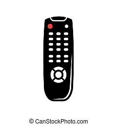 controllo, remoto, tv, vettore, nero, icon.