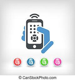 controllo, smartphone, remoto, icona