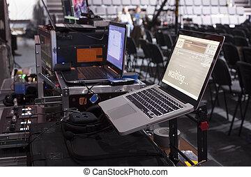 controllo, televisione, gallery., bottone, trasmissione, apparecchiatura, pannello