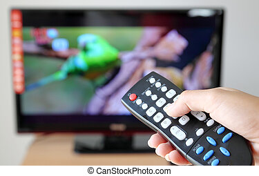 controllo, televisione, verso, remoto, indicare, tv, mano