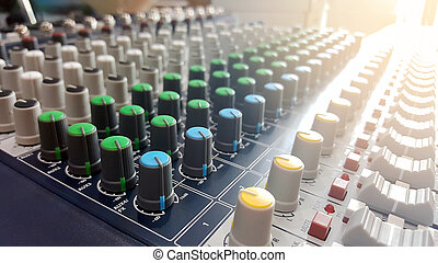 Controls for the audio mixer.