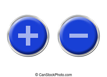 two round blue controls on the white background