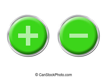two round green controls on the white background