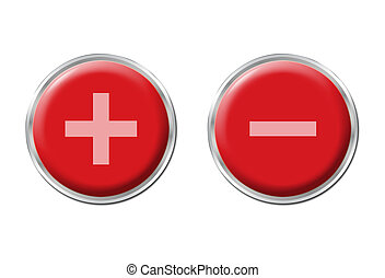 two round red controls on the white background