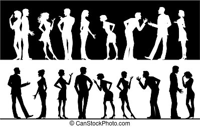 Silhouettes of conflicting men and women