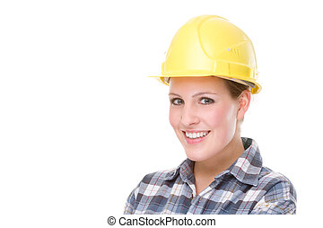 contruction, arbeider, (woman)