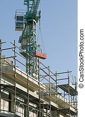 Detail of scaffolding and crane
