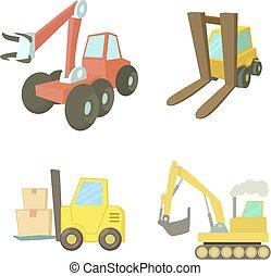 Contruction vehicle icon set, cartoon style