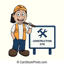 contruction worker Be Careful from sign