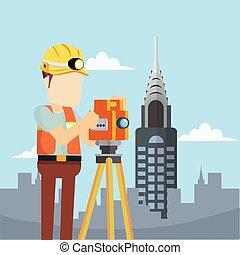 contruction worker surveyor in city