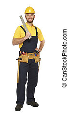 contruction worker with spirit level isolated on white ...