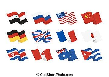 Contry flag illustrtion - Vector illustration set of the...