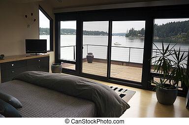 convés, porto, portas vidro, quarto, interior, lar, deslizamento, bote