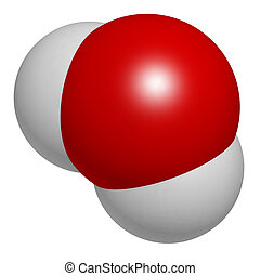 conv, molecule., 原子, 水, 球, (h2o), 表された