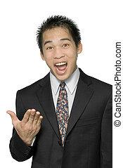 convaincre, vendeur, asiatique