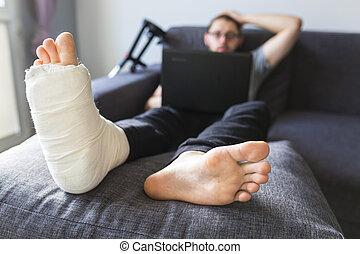 convalescence, maison, rupture, après, jambe