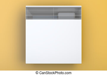 Convection heater on the wall front view, 3D rendering