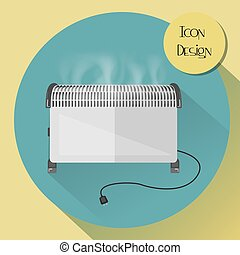 Convector electric heater. Design icons in flat style.