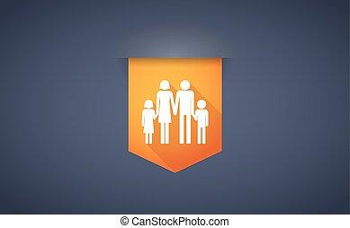 convencional, familia,  Pictogram, largo, sombra, cinta, icono