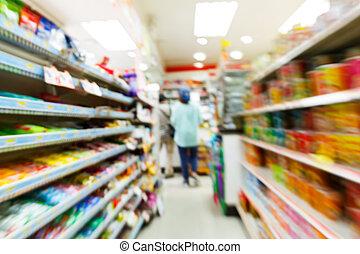 conveniência, blurry, loja