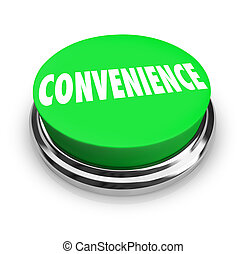 Convenience Word Green Round Buton Fast Easy Service -...