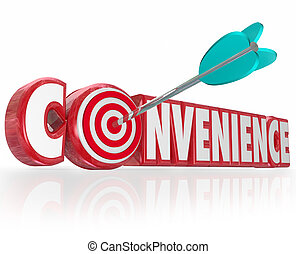 Convenience Word Red 3d Letters Arrow Target Bulls-Eye
