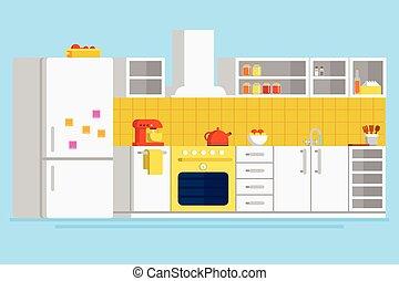 Convenient modern kitchen flat vector design illustration...