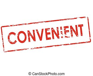 Convenient - Rubber stamp with word convenient inside,...