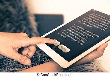 convenir, con, información, en, tableta, vendimia, style.
