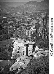 Convent on the cliff in Meteora in Greece - Ancient convent ...