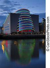 Night view of the Convention Centre in the Dublin Docklands. Opened in September 2010, it overlooks the River Liffey at Spencer Dock. It was designed by the American-Irish architect Kevin Roche.