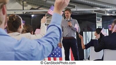 convention, politique, mâle, orateur, audience