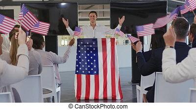 convention, victorieux, politique, mâle, orateur, audience